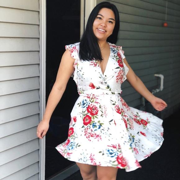 bcf259c2debe Lulu's Dresses   White Floral Wrap Dress   Poshmark